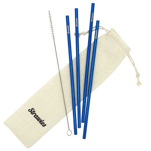 Blauwe Metalen rietjes Strawies