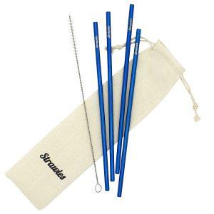 Blauw Metalen rietje Strawies