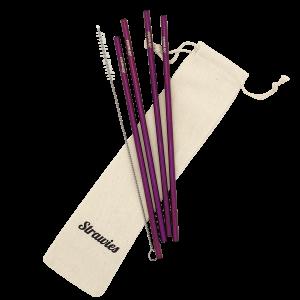 Paars rietje van metaal duurzaam strawies