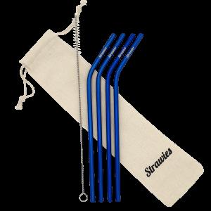 Blauw gebogen rietje van metaal en duurzaam en herbruikbaar Blue dolphin bent (Custom) (1)